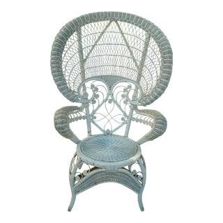 Vintage Bohemian White Wicker Peacock Fan Chair