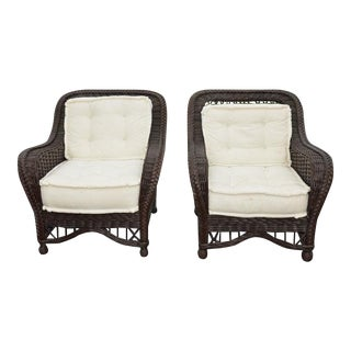 Lane Venture BrownWicker Patio Club Chairs - A Pair