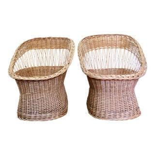 Rattan Wicker Barrel Chairs - A Pair