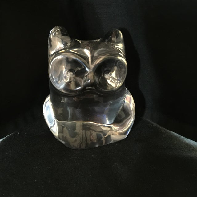 Image of Orrefors Owl Paperweight