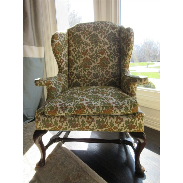 Antique Green & Orange Floral Wing Chair - Image 2 of 8