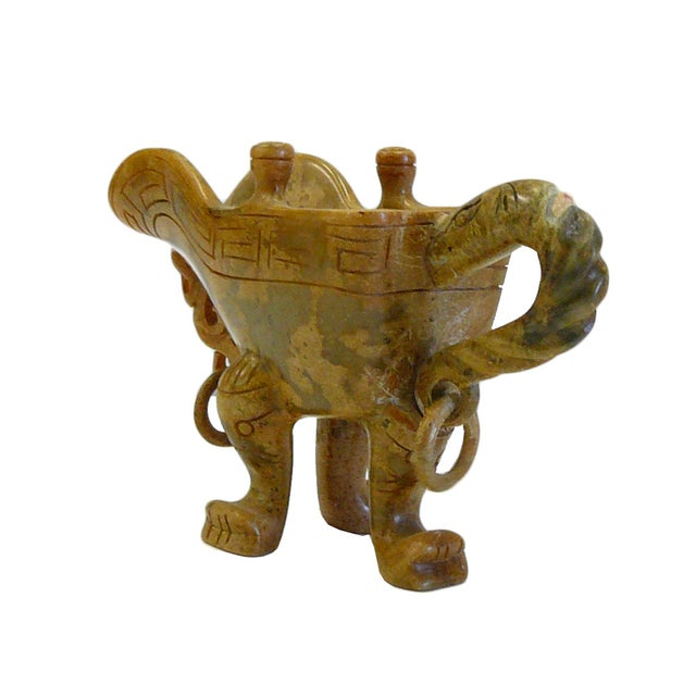 Chinese Oriental Stone Carved Tri-Leg Cup - Image 4 of 6