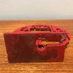 Image of Red Metal Brutalist Sculpture