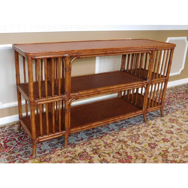 Ethan Allen Rattan Media Console Sofa Table - Image 3 of 9