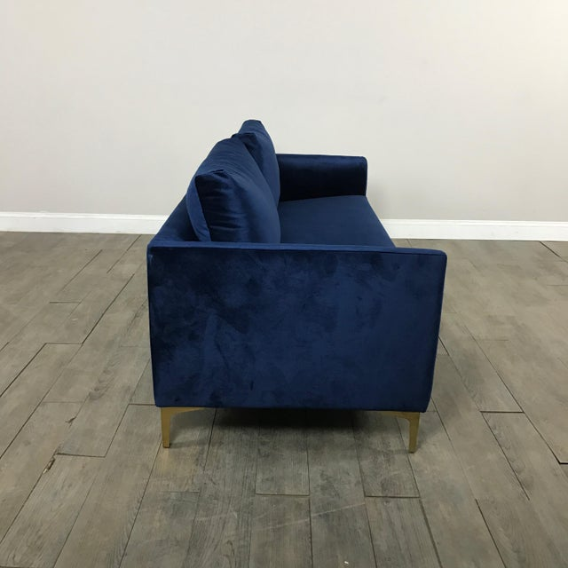 Modern Royal Velvet Navy Blue Sofa - Image 9 of 11
