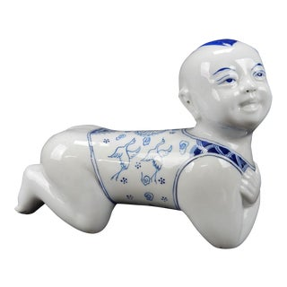 Chinese Blue & White Porcelain Pillow Figurine