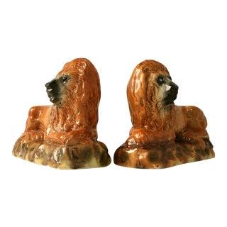 Antique Scottish Porcelain Lions - A Pair