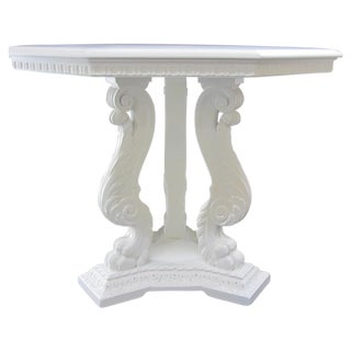 Antique Octagonal Baroque Claw Foot Pedestal Table