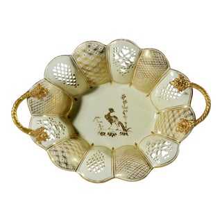 English Creamware Pottery Basket