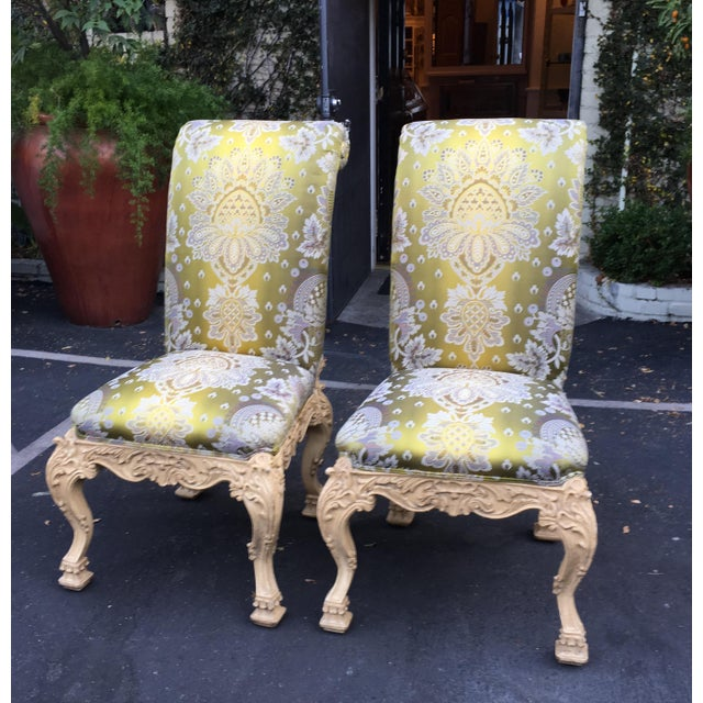 Carved Italian Side Chairs With Venetian Style Green Silk Lampas - Image 2 of 5