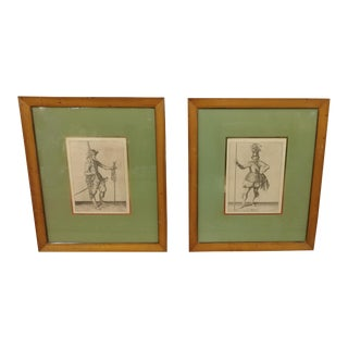 Antique Soldiers With Weapons Engravings - A Pair