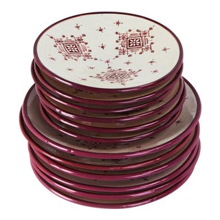Hand Painted Moroccan Ceramic Plates - Set of 8