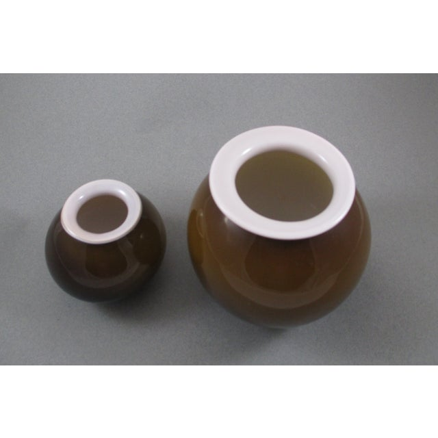 Image of Deep Brown and Cream Petite Vases - Pair