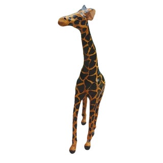 Handmade Leather Covered Papier Mache Giraffe Figurine