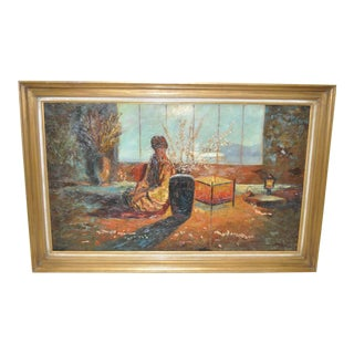 1950s Mid-Century Modern Japonism Oil Painting