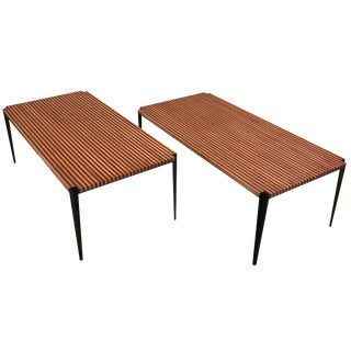 Osvaldo Borsani Pair of Large Cocktail Tables in Two Toned Wood and Steel