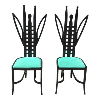 Memphis Grasshopper Chairs Attributed to Ugo La Pietra Pair