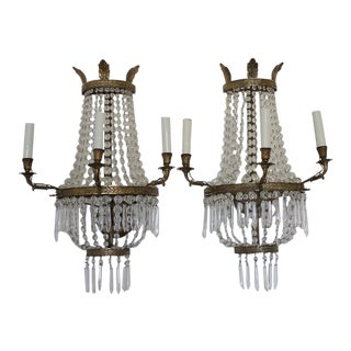 Brass and Crystal Empire Style Sconces - a Pair