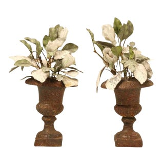 Decorative Leaves & Porcelain Flowers in Urns - A Pair