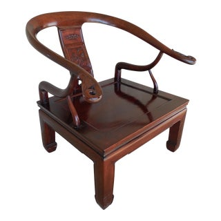 Chinese Teak Carved Accented Arm Chair