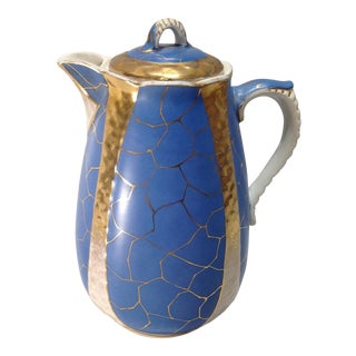 Antique Blue & Gold Porcelain Coffee Pot