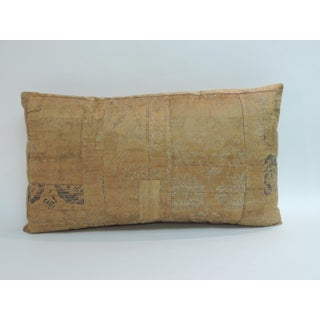 Antique Textile Japanese Silk Kesa Lumbar Decorative Pillow