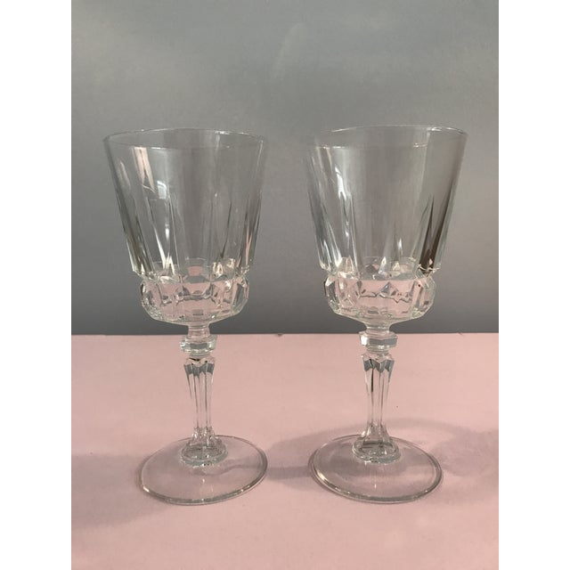 Vintage Crystal Mid Century Modern Wine Glasses A Pair