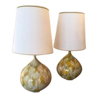 Monumental Drip Glaze Ceramic Lamps - Pair