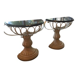 Metal and Composite Marble Top Demilunes - Pair
