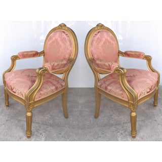 Pair of Early 20th Century French Gilt-wood Walnut Fauteuils
