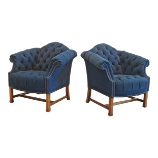 Navy Canvas Button Tufted Club Chairs - A Pair