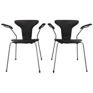 Vintage Black Arne Jacobsen Armchairs - Pair