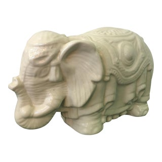 White Porcelain Elephant Figurine