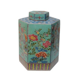 Vintage Chinese Hand Painted Turqouise Hexagon Jar