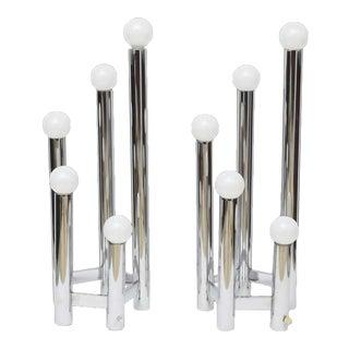 Pair of Austrian Modern Polished Chrome Five Lite Table Lamps, Kalmar