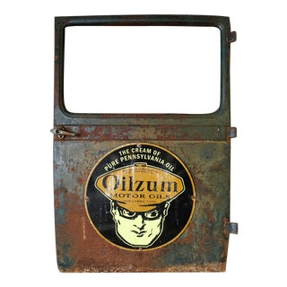 Vintage Oilzum Enamel Truck Door Sign