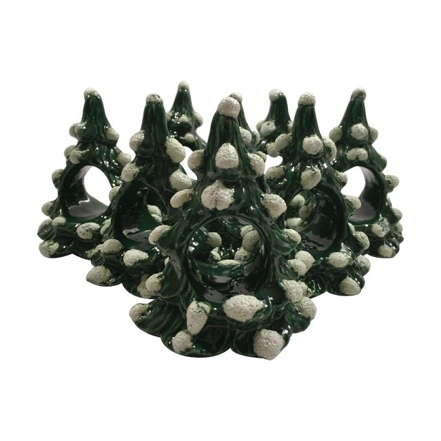Vintage Christmas Tree Napkin Rings - Set of 8 - Image 1 of 8