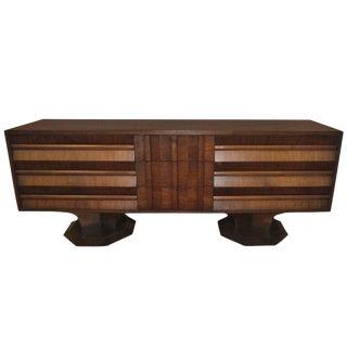Brutalist Mid-Century Walnut Credenza Dresser