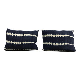 African Indigo Tie-Dyed Pillows - A Pair