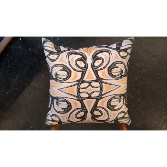 Yellow Abstract Pillow by Amanda Talley - Image 2 of 4
