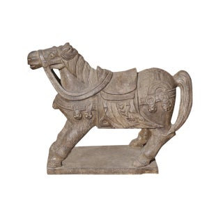 Chinese Tong Dynasty Style Handcrafted Stone Warrior Horse Figure