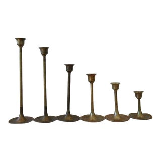 Vintage Graduated Brass Candlesticks - Set of 6