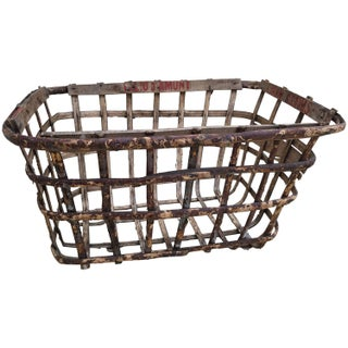 French Handcrafted Birch Bentwood Basket