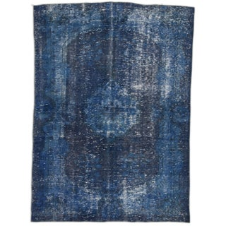 "Indigo Abrash Medallion Turkish Rug - 5' 10"" x 8'"