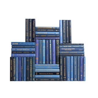 Modern Blue & Gold Book Wall, S/50