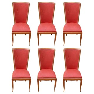 Fine French Art Deco Mahogany Dining Chairs - Set of 6 Circa 1940s.
