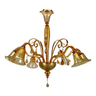 Venini Large Amber Murano Glass Six-Arm Chandelier