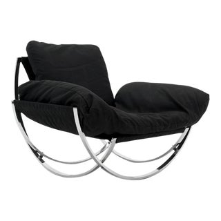 1970s Italian Curved Chrome Framed Lounge Chair Imported by Stendig
