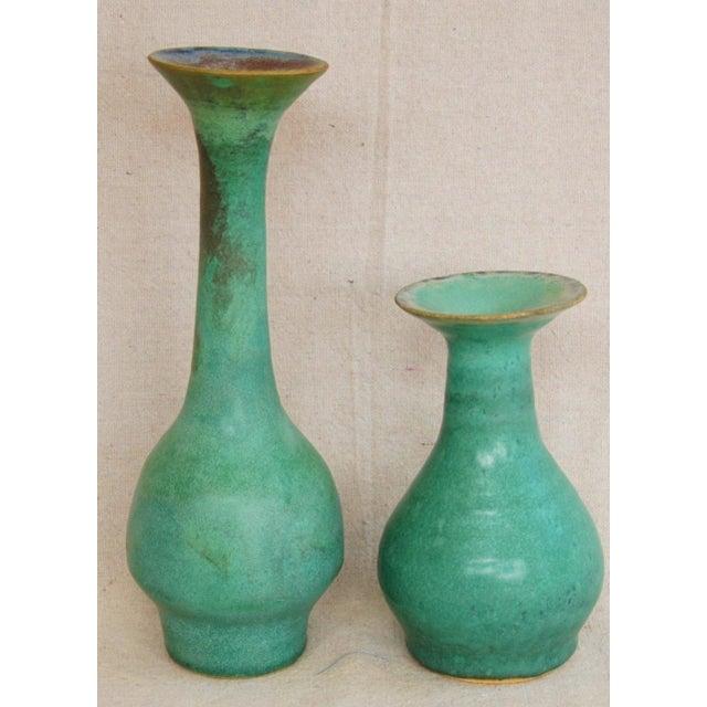 Image of Mid-Century Studio Art Green Pottery Bud Vases - Set of 2