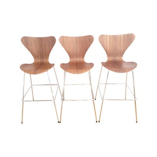 DWR Series 7 Bar Stools in Walnut - Set of 3